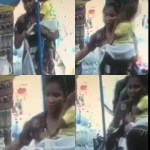 Nursing mum pretending to be in search of a job caught on camera stealing a bag in a shop (video)