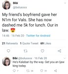 """""""Hug your broke boyfriend today"""" Woman gives update one year after she gushed about her friend's boyfriend who 'gave' her 1 million Naira as Val's gift"""
