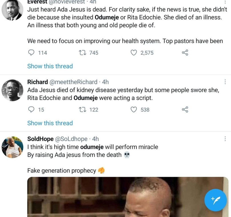 Ada Jesus, Prophet Odumeje and Rita Edochie trend on Twitter following the death of the Instagram comedian