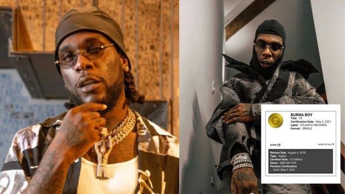 Burna Boy's 'Ye' Gets Gold Certification within the United States of America