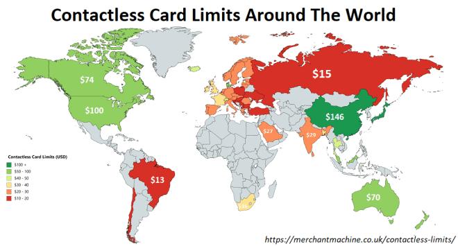 Αυτά είναι τα όρια ανέπαφων συνναλαγών με κάρτες σε όλο τον κόσμο