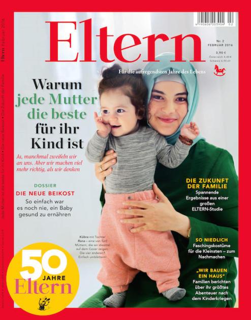 """Darf man eine Mutter mit Kopftuch in Deutschland nicht zeigen? Aktuelles Titelbild (eines von fünf verschiedenen) der """"Eltern""""."""