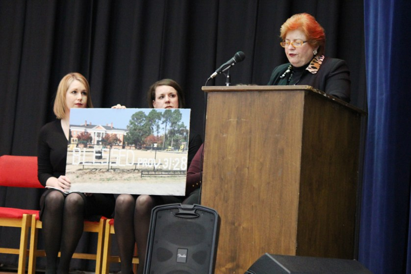 """Ms. Taylor's daughters"" give moving tribute during dedication of SJE auditorium"