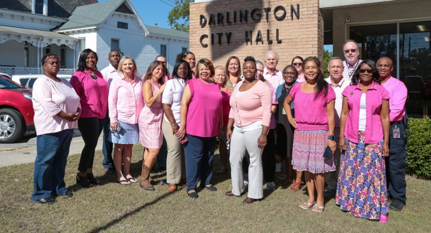 City of Darlington employees and government officials wear pink to support National Breast Cancer Awareness Month