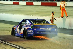 Denny Hamlin holds off hard charging Larson to win Cook Out Southern 500