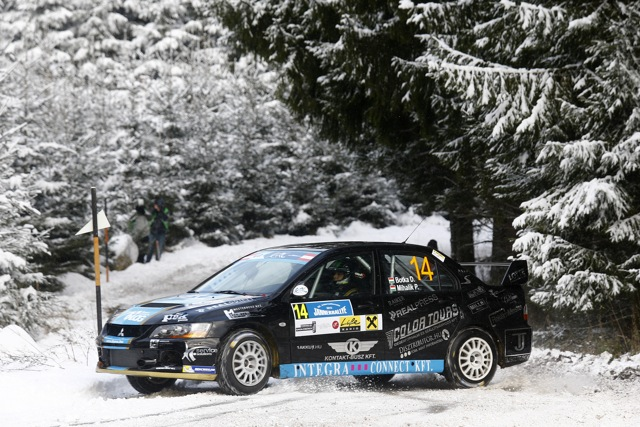 14 David Botka (HUN) - Peter Mihalik (HUN) - Mitsubishi Evo IX / Action during the 2015 European Rally Championship ERC Jänner rally,  from January 4 to 6th, at Freistadt, Austria. Photo Gregory Lenormand / DPPI