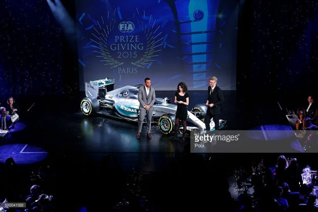 xxxx during the 2015 FIA Prize-Giving Ceremony at the Lido Theatre on December 4, 2015 in Paris, France.
