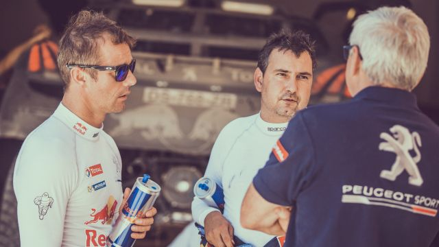 Sebastien Loeb and Daniel Elena during the Peugeot test in Erfoud, Morocco on September 16, 2015