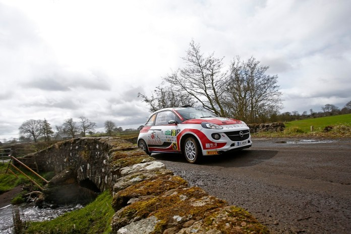 28 PIENIAZEK Lukasz MAZUR Przemyslaw OPEL ADAM R2 ACTION during the 2016 European Rally Championship ERC Circuit of Ireland rally,  from April 7 to 9, at Belfast, Ireland - Photo Gregory Lenormand / DPPI
