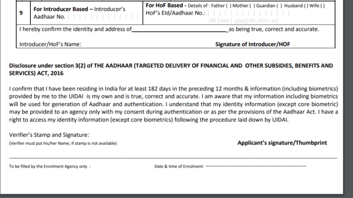 Aadhaar Card Application Form | Required Documents For