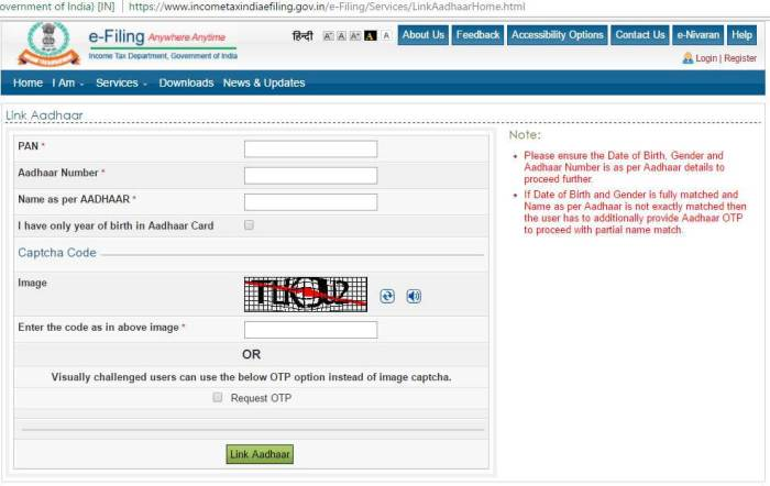 Aadhar Card link to Pancard