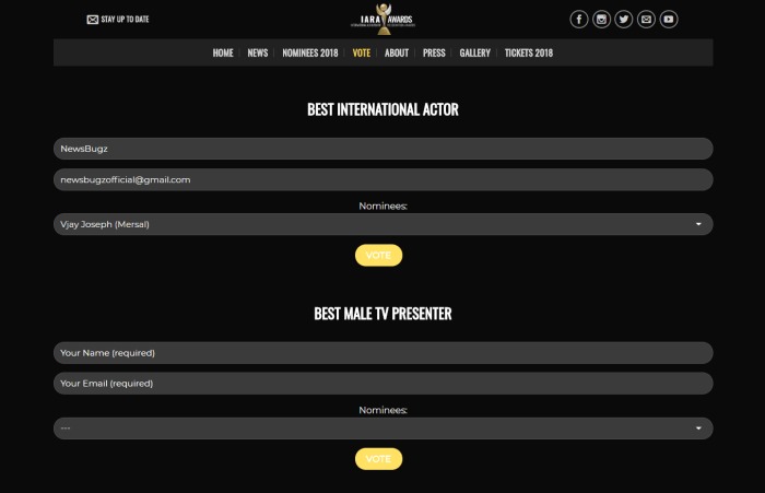 Actor Vijay nominated for IARA Awards