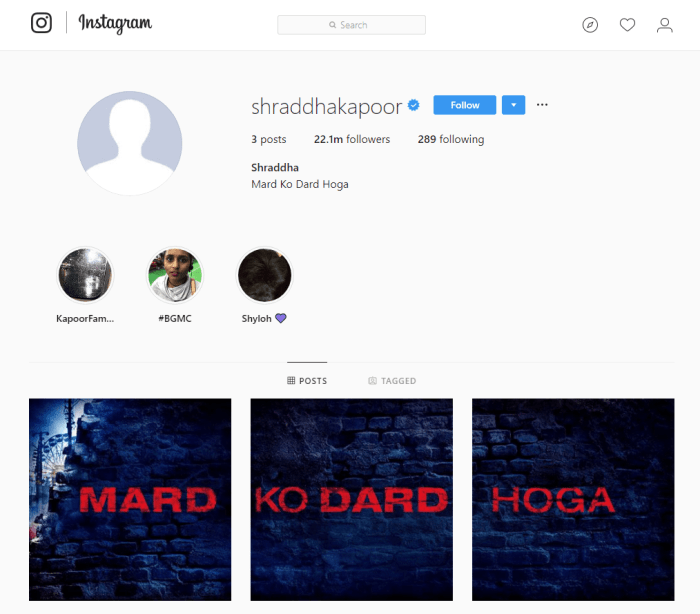 Shraddha Kapoor Instagram Account
