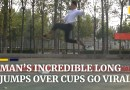 Man goes viral for incredible long jumps over cups in China