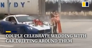 Couple in China celebrate wedding with car drifting around them