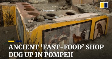 Ancient Roman 'fast-food' counter found in ruins of Pompeii is unveiled by Italian archaeologists