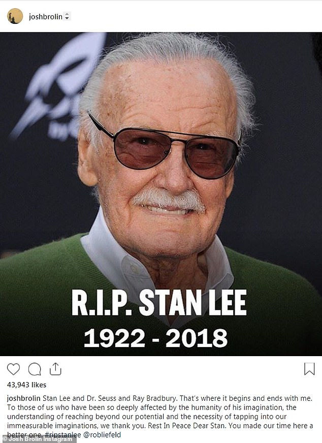 Glowing tribute: John Brolin. who played both Cable and Thanos in the Marvel universe shared ths photo of the veteran, captioned, 'Rest in Peace Dear Stan. You made our time here a better one'