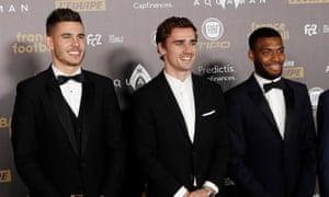 Antoine Griezmann alongside Atlético Madrid and France team-mates Lucas Hernández and Thomas Lemar.