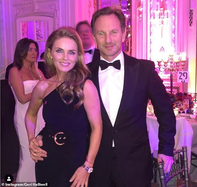 Cute couple: Geri wed Christian Horner (above) in 2015 with the pair welcoming Monty in January 2017. She also has daughter Bluebell, 12, with ex Sacha Gervasi