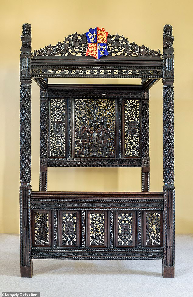 An intricately carved oak bed once dumped in a hotel car park has been revealed by DNA testing as the likely place where Henry VIII was conceived. The bed is described as measuring nine-feet tall, and six feet long.