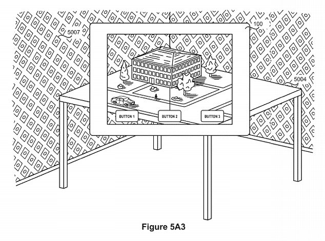 A previous patent details a virtual user interface that can be used on a device like an iPhone or a headset. Users would interact with AR environments using a touchscreen device (pictured)