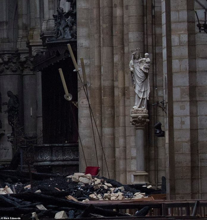Image result for Notre dame de Paris statues of Virgin Mary remain  intact after fire