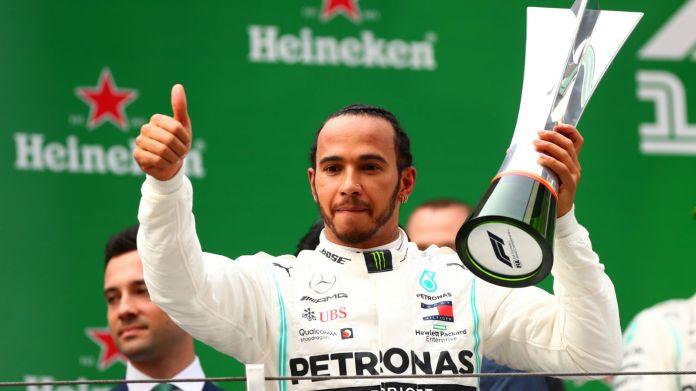 Mercedes driver Lewis Hamilton won Formula 1's landmark 1,000th world championship race