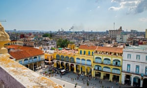 View of Plaza Vieja and Havana, Cuba from Edificio Gomez Vila