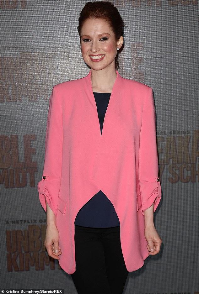 Ellie in pink: Ellie Kemper rocks a pink and black ensmeble