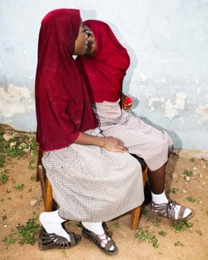 Twin sisters at the Igbo-Ora high school