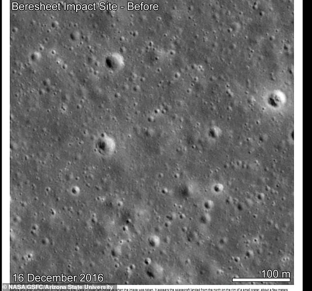 Radio tracking allowed scientists to pinpoint the landing site to within a few miles, according to the space agency. This, along with a series of 'before' images helped scientists to discover the new feature