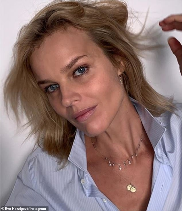 Beauty: With decades of modelling experience under her belt ever since she won the 1989 beauty contest in Prague, it was no surprise Eva demanded attention