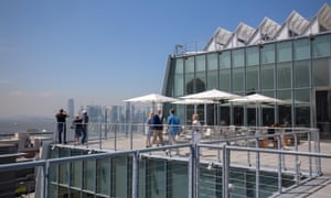 The rooftop view of the Whitney Museum of Art in New York City