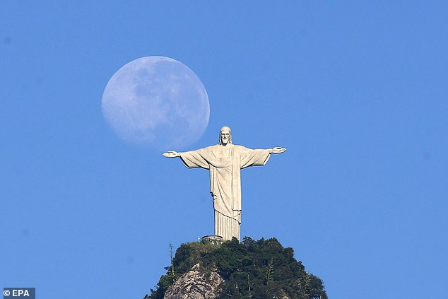 The figure has been compared to the iconic Christ the Redeemer statue in Rio de Janeiro, Brazil