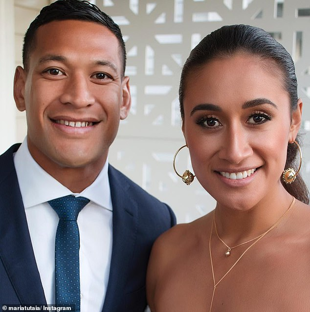 Folau (pictured with his wife Maria) is the first Australian athlete dismissed for expressing religious beliefs