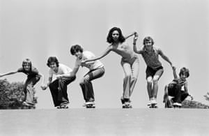 Fashion shoot on skateboards, Frank Martin, June 1976