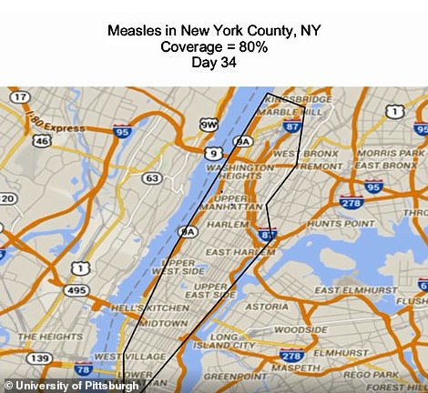 The map shows day 34 of a measles outbreak in New York if vaccination rates were 80 per cent