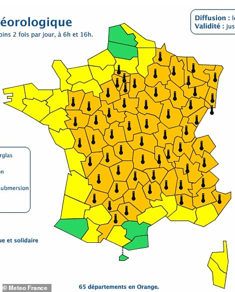 The majority of France was issued with an orange heat warning - meaning danger to life even among healthy people - for the second day running on Wednesday