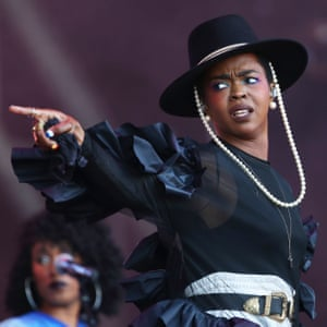 Lauryn Hill performing on the Pyramid Stage