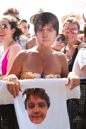 Festival goers watch Lewis Capaldi perform on the Other stage.