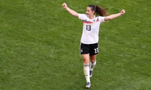 Germany's Sara Dâbritz celebrates after the match.