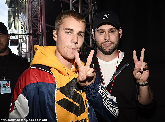 Swift said when she heard of the deal 'all I could think about was the incessant, manipulative bullying I've received at his hands for years'. Justin Beiber pictured with Braun in 2017