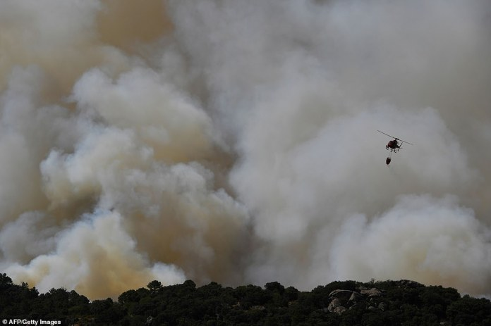 Authorities in Spain were forced to evacuate dozens of residents from their homes as the wildfires spread rapidly over the weekend