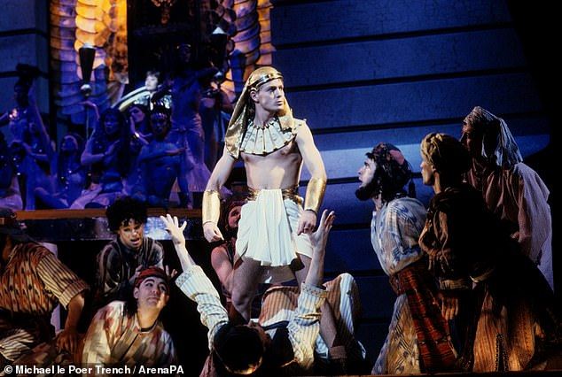 The Australian actor and singer was back at the London Palladium in Joseph and the Amazing Technicolor Dreamcoat, the show that launched his stage career 28 years ago. Jason is pictured above in the 1992 show