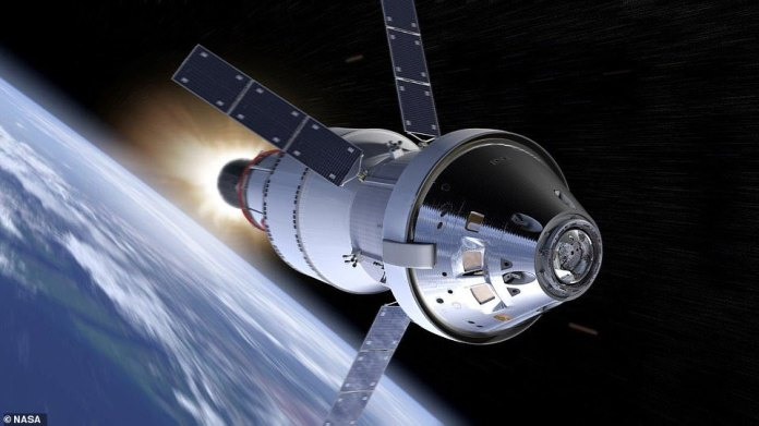 This would be the third of five launches to test the capsule, which will form an integral part of the Artemis mission - due to launch in the 2020s. Artist's illustration of NASA's Orion spacecraft in space with its European-built service module, powered toward the moon by an upper stage engine