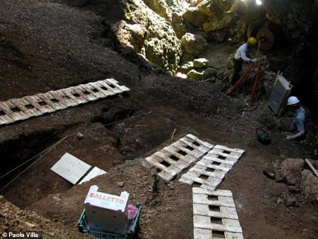 The caves were home to populations of Neanderthals that lived in Europe between around 55–40 thousand years ago, during the so-called Middle Palaeolithic period. Pictured, excavations taking place in the Grotta del Fossellone