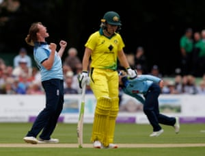 Anya Shrubsole celebrates taking the wicket of Nicole Bolton for four.