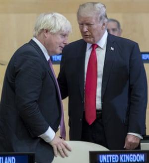 Donald Trump and Boris Johnson at a UN General Assembly meeting, New York, Sep 2017