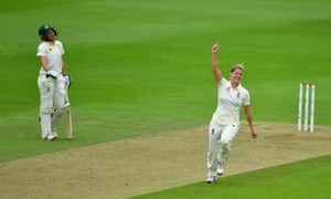 England's Katherine Brunt celebrates taking the wicket of Australia's Nicole Bolton.