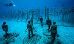 An underwater sculpture, part of Jason deCaires Taylor's Museo Atlantico off the coast of Lanzarote.